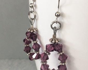 Amethyst Swarovski crystal earrings, amethyst hoop earrings, purple swarovski crystal earrings