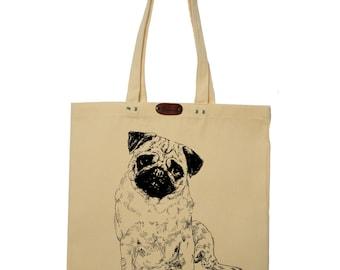 Pug  - hand printed cotton tote bag