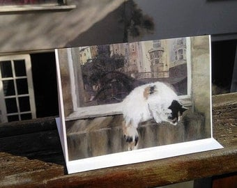 Millie Ninja - Greetings card. Tabby and White Cat from original acrylic painting.