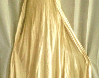 Soft Cream Colored Crepe like Material Night Gown with Lace Bodice