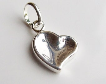 Vintage White Metal Heart Pendant