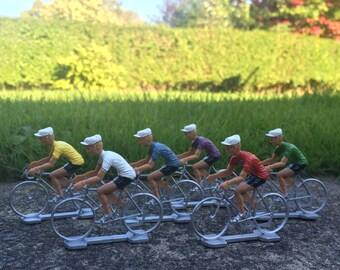 Set of 6 Retro Cyclist Figures