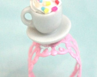 hot chocolate ring- miniature food jewelry,sprinkles ring