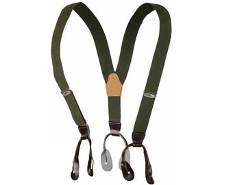 1980s Ex-Army Button Braces Suspenders Faux Leather End Green Elastic Adjustable New Vintage Retro