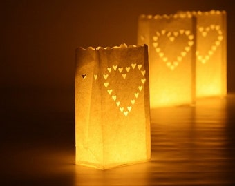 48 x Heart Paper Bag, White Lantern Wedding Party Decoration, Path Candle bags