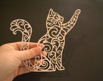 White Cat Hand Cut Paper Art