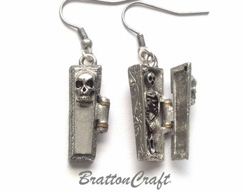 Hinged Silver Coffin with Skeleton Earrings - Open Coffin Earrings - Halloween Earrings -Day of the Dead - Halloween Jewelry