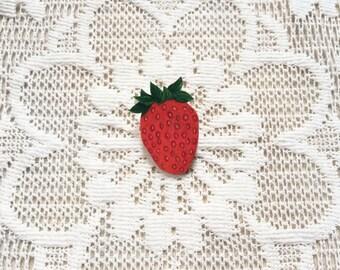 Strawberry pin | shrink plastic brooch, hand drawn