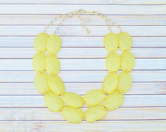 Big Bold Chunky Necklace with Large Beads, Bead Collar Necklace, Yellow Choker Necklace, Yellow Wedding Jewelry, Bridesmaid Necklace Gift,