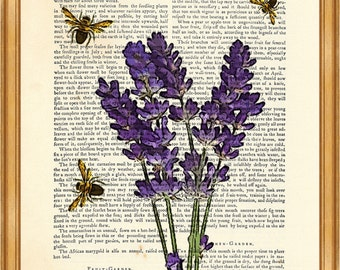 Valentines Day Decor, Lavender Flowers with Bees DICTIONARY ART PRINT, Bees with Lavender illustration Book Page Poster, Wall Decor Poster