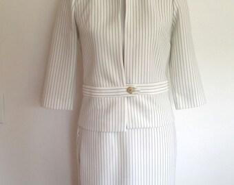 Pinstripe suit, summer suit, XS, S, 60's suit, Butte knit suit, 60's pencil skirt, striped suit, white suit, spring suit, double knit suit