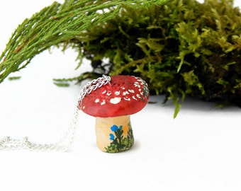 Mini Toadstool Totem Necklace, Woodland Jewelry, Original Gift, Red Toadstool, Hand Painted, Toadstool Necklace, Totem Necklace, Whimsical