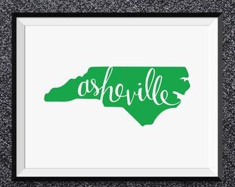 Asheville North Carolina Wall Art Print - Asheville Print, North Carolina Art, Asheville Poster, North Carolina State Print