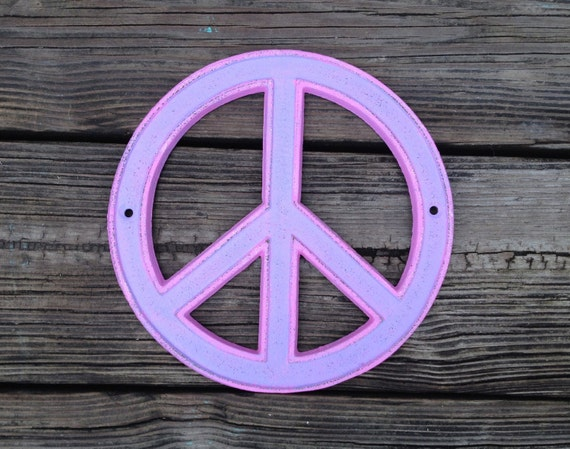 Peace Sign Wall Decor Metal : Pink purple cast iron peace sign wall decor retro inspired