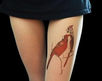 Birds cardinal tights, handmade