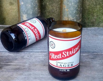 Jamaican Style Lager Beer Decor Candle, Red Stripe Upcycled Bottle