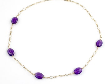 Amethyst and Gold Short Necklace