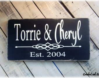 Gift For Newlyweds, Bridal Shower Gift, Custom Wedding Gift, Handmade Sign,Wood Plaque,Established Date Sign,Personalized Gift,New Home Gift