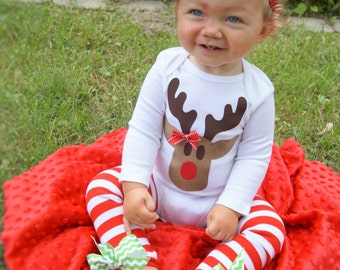 Baby girl christmas outfit - Baby girl first christmas outfit- OTT headband - reindeer onesie - baby christmas legwarmers