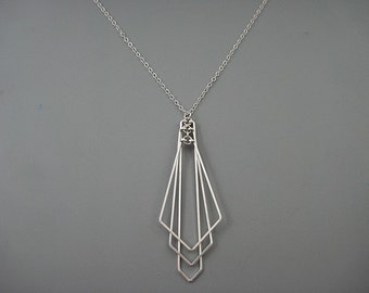 Art Deco Necklace - geometric statement necklace on sterling silver chain, architecture jewelry - Tiered Arrow