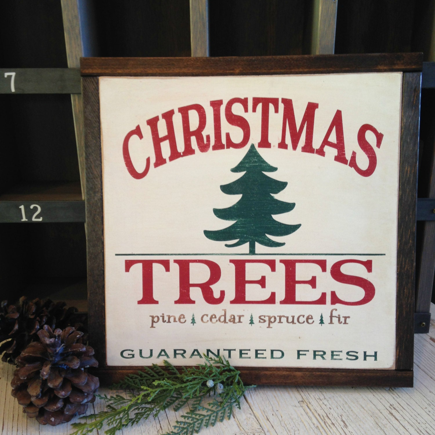 CHRISTMAS TREES Vintage Christmas Sign By BunkhouseandBroadway