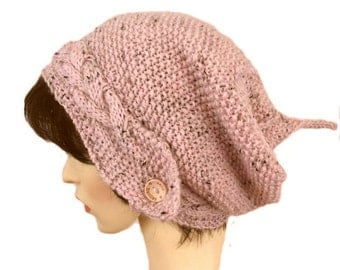 Ice Pink Alpaca mix Slouchy beanie hats for women slouch beanie knitted hat winter hat wool beany, pixie hat, festival hat, elven  beanie