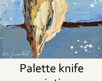 Blue Cottage Chic. Brown Sparrow Bird Painting. Miniature Art. Acrylic Animal Portrait. Bird Lover's Decor. Stocking Stuffer - 107