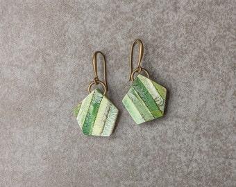 Dangle Geometric Earrings - Drop Minimalist Geometric Earrings - Modern earrings - contemporary polymer clay earrings