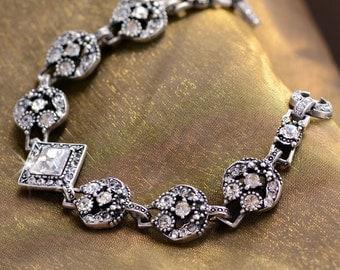 Crystal Bridal Bracelet, Silver Wedding Bracelet, Bridal Jewelry, Bridesmaid Jewelry, Bridesmaid Bracelet, Wedding Jewelry, Bride BR451