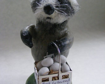 Raccoon Figurine Woodland Sculpture Easter Eggs Bandit Raccoon Paperclay Country Decor farm life Spring decor