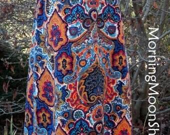 BOHO MAXI SKIRT, Corduroy Velvet, Vintage 1970s Hippie Gypsy, Bright Psychedelic Ethnic India Floral Print, Yellow Aqua Blue Red Black, Lg