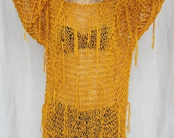 Knitted Fringe sweater Slouchy Mustard loose knit Grunge oversized Hand knitting sweater Fringed mini dress Chunky sweater Beach dress tunic