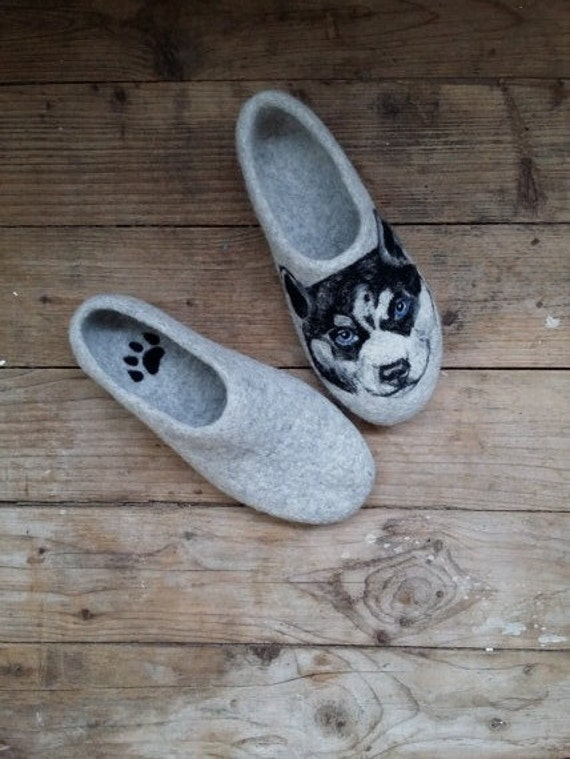 Siberian husky Faced Wool slippers With Blue Eyes Womens Lovely Dog Present