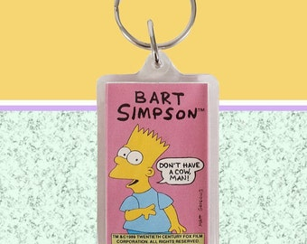 80s Deadstock Vintage Bart Simpson Keychain! ~ Don't Have A Cow Man!