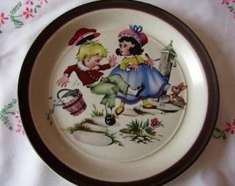 Retro Medina 'Jack and Jill' Children's Nursery Plate by Doverstone Staffordshire c1970s