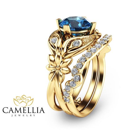 London blue topaz bridal ring set flower by camelliajewelry for Blue topaz wedding ring sets