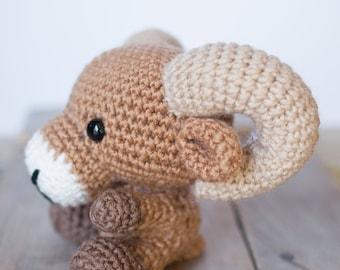 PATTERN: Crochet ram pattern - amigurumi ram pattern - crocheted ram pattern - bighorn sheep toy - PDF crochet pattern