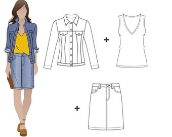 Style Arc Pattern Bundle - Stacie, Diana, Sally - Sizes 10, 12 & 14 - Women's Skirt, Singlet and Jacket PDF patterns for printing at home