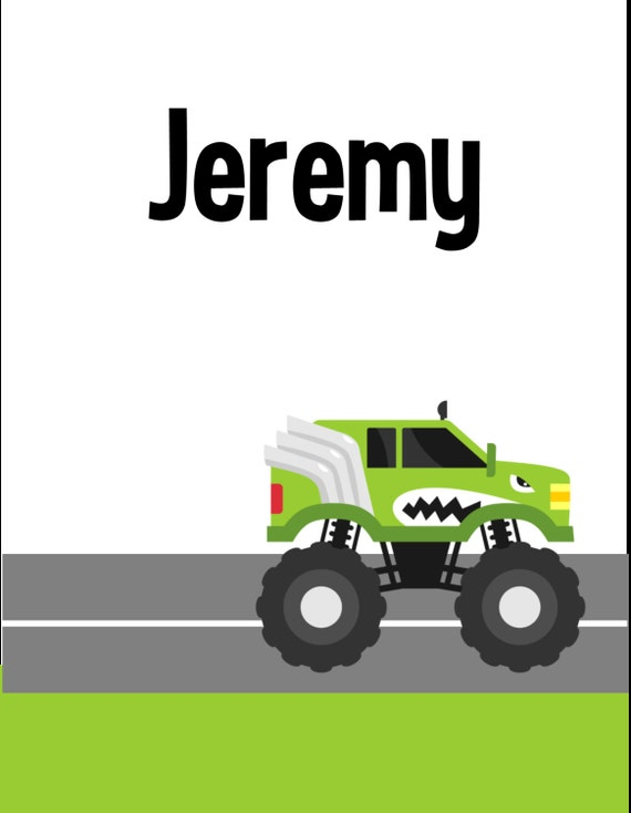 Boy:  Monster Truck Personalized Printable Binder Cover