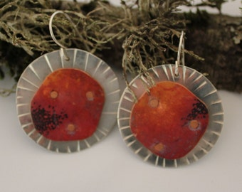 sterling silver disk earrings, copper disk, riveted, red patina, textured