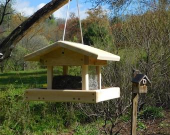 Cedar Bird Feeder, Four Sided Bird Feeder,Cable Hanging, Large Bird Feeder