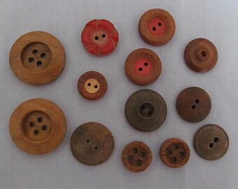 Vintage Wooden Buttons, 13 Thirteen, Different Sizes, Large, Smaller, Sew-Through