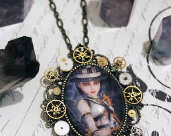 Hattress // Alice: Madness Returns Necklace // Steampunk-Style Glass Cab Pendant