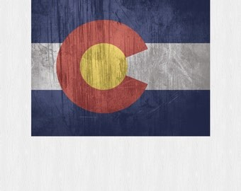 "COLORADO STATE FLAG Art Print Grunge Wall Decor 11"" x 14"" or 8"" x 10"""