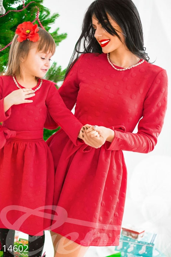 Matching christmas dresses family outfits mother and