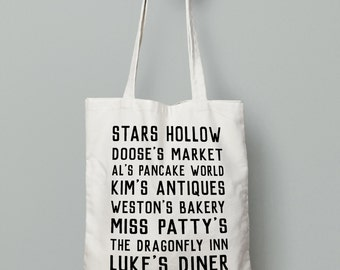 Gilmore Girls Tote Bag- Stars Hollow Places, Luke's Diner, Gilmore Girls Bag, Gilmore Girls Gift