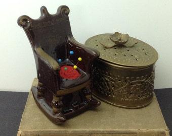 Vintage Pincushion Rocker Pincushion Ceramic Pincushion Sewing Room Decor