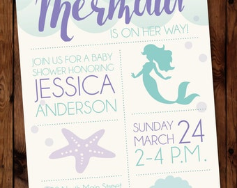 Mermaid Baby Shower Invitation/Under the Sea Baby Shower Invitation/Little Mermaid Baby Shower Invitation/Mermaid Invitation