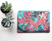 Red  Turquoise Floral Bag Makeup Clutch Bag Bag Organiser Bridesmaid Gifts Bridesmaid Bag Abstract Blossom