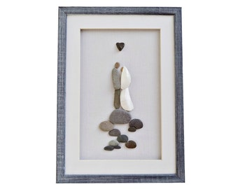 Unique wedding gift, Wedding pebble art - bride, groom and genuine heart shaped beach stone, Wedding shower, Couples gift, Wedding gift idea